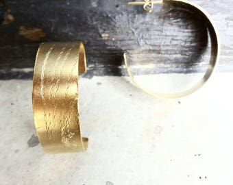 C Earrings.Gold Plated Earrings. Hoop earrings.Minimalistic gold plated earrings. Geometric earrings. Open Circle Earring.Gift for her