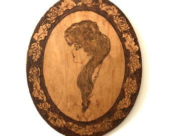 Early 20th Century Arts & Crafts Pyrography Wood Art