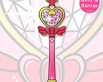 Wand Stick, Sailor Chibi Moon Style Holographic Sticker
