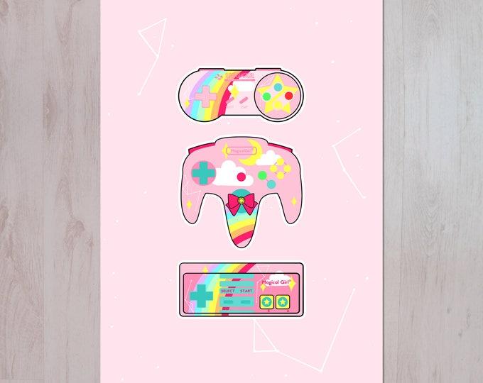 Gamer Girl, Nintendo X Sailor Moon Inspired Illustration A3 Archival Fine Art Print