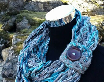 Long Infinity Scarf, FREE SHIPPING, Black scarf Cowl, Chunky infinity Cowl, Grey Scarf, Multi colored Scarf, Teal Button Scarf, Infinity