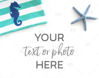 Beach Themed Desk Mockup / Styled Stock Photography / Mockup / Styled Photo for Blog Website / Desk Mockup Seahorse Bag & Starfish / 2 for 1