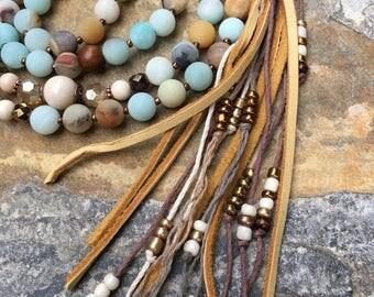 Long beaded leather tassel necklace amazonite stone beads Robles wood bohemian tassel necklace boho jewelry tassel mala Lavish Lucy