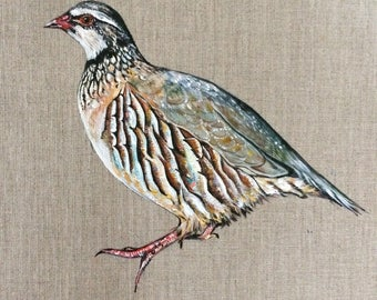 ORIGINAL - Red Legged Partridge Acrylic Painting - 30 x 30 cm - Bird Nature Artwork Wall Art - Linen Canvas board - Game Birds Christmas