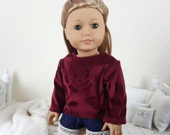 18 inch doll rose shirt | denim & lace shorts |burgundy velour sweater