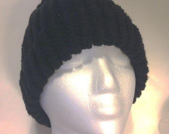 Black Winter Hat Handmade Crochet Warm Adult