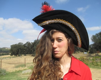 Pirate Costume - #5 - Faux Leather Pants - Pirate Hat - Patten Leather Wide Belt - Red ShirtSIze 10-12