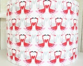 Flamingos lampshade  flamingo  pink red fabric  20cm or 30cm for pendant or table lamp  kitch home decor  retro lampshade