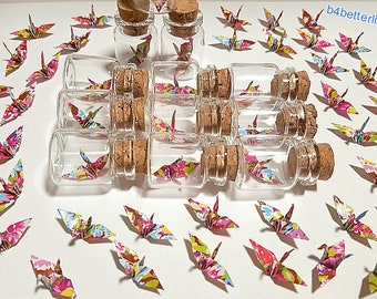 Lot of 12pcs Floral Design 1-inch Hand-folded Paper Crane In A Mini Glass Bottle With Cork. (WR paper series). #CIB12p.