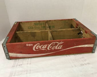 Wooden Coca-Cola Crate - 4 Sections for Coke 6 Packs