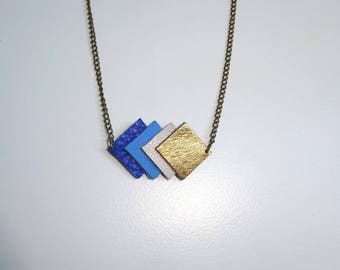 blue bronze leather necklace