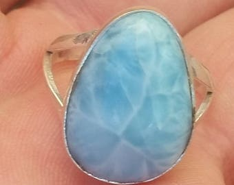 LARIMAR stone 925 sterling silver RING size 8.25 (PL-49)