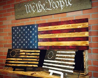 Wood American Flag Wall Art wooden american flag american wood flag thin blue line thin