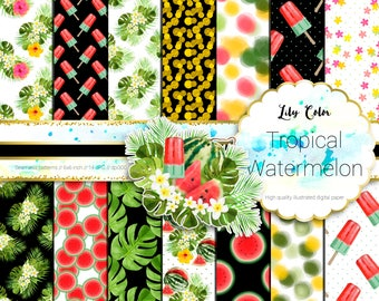 Tropical watermelon paper Tropical watermelon themed graphics For planners scrapbooking,  invitations and more 14 sheets  300 ppi