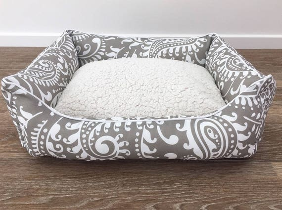 SMALL Lounger style Dog Bed   - 'Coco' design in Oyster and White