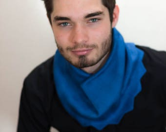Light Oxford Cowl, Oxford Blue Cowl, Blue Cowl, Men's Cowl, Men's Snood, Made in the UK, Knitted Cowl, Winter Cowl, Cowl, Snood, 70