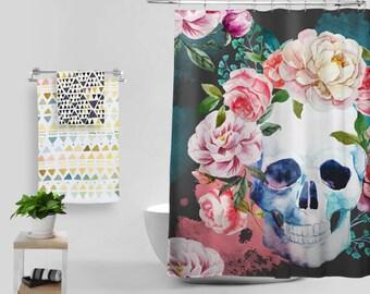 Magic Shower Curtain Skull Bath Curtain Abstract Design Floral Home Decor Watercolor