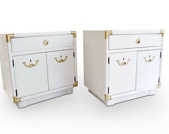 Customizable  Pair of Drexel Accolade  side tables / bedside tables / campaign tables/ pair of nightstands