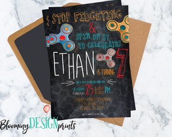 Fidget Spinner Hand Spinner Birthday Invitation