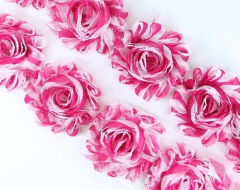 Rosette Trim - shabby chiffon flower trim, shabby chiffon rose trim, shabby rosette trim diy headband, diy crafts, pink roses, pink flowers