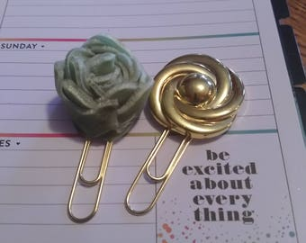 felt green rose and gold metal like button planner clips