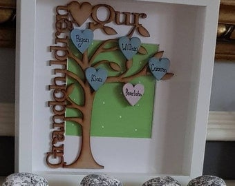 Family tree box frame-grandchild-gift for mum- gift for grandma-grandad gift-fathers day-mothers day-wall hanging