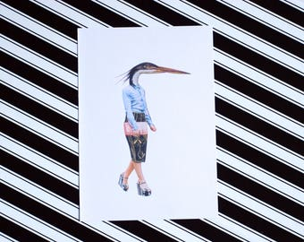 Heron - A5 Colour Bird Fashion Print - Eco Friendly - Recycled Paper