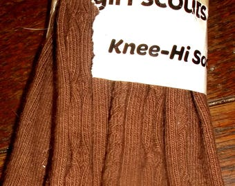 Vintage Girl Scouts cable knit knee hi socks~new old stock FREE SHIP USA