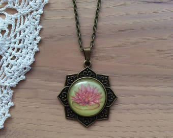 Lily Pad Pink Glitter Bloom- Cabochon Necklace - Round Rosette Pendant Necklace - Antique Brass Bezel and Chain