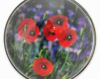 C0711  Art Glass Print Chunk - Red Poppies