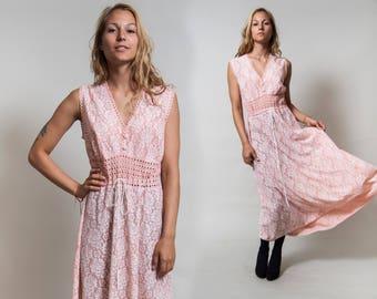 30%OFF Sheer Pink Floral Lace Dress/ Sleeveless Bohemian Maxi Dress/ Drawstring Waist/ Long Hippie Dress • Size Medium •