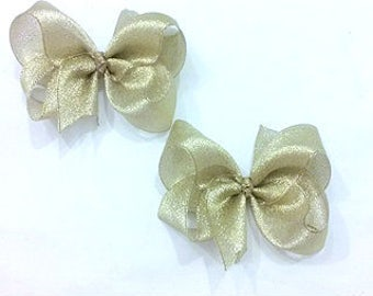 Gold Hair Bows , Gold Pigtail Bows , Gold Hair Bow Set. Gold Glitter Bow , Gold Metallic Bow