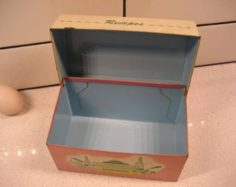 40% OFF SALE // Vintage Metal Recipe Box - Retro graphics - Robin egg blue interior - Ohio Art - made in USA - midcentury kitchen