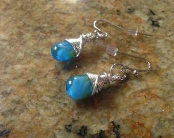 Blue Swirl Wire-Wrapped Earrings