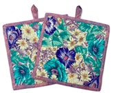Quilted Fabric Potholders in Aqua and Violet, Set of two  potholders,  Hot Pad,  BBQ Accessory, Floral Trivet, Quiltsy Handmade