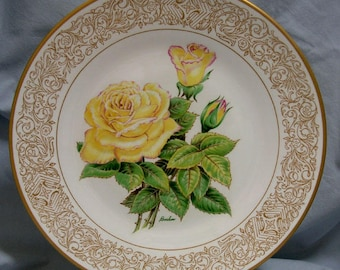 Service Plate E M Boehm Rose Plate Collection The Peace Rose English Bone China