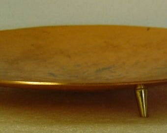German Modernist tripod hammered copper bowl signed WALL