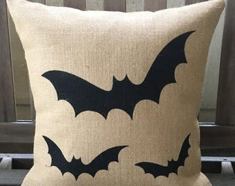 SALE Halloween Bats Burlap - Halloween Pillow