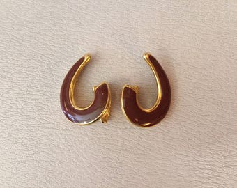 1970S // 70S TANCERI'S // Vintage Tanceri ii Brown Swirl Clip On Earrings