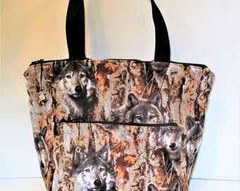 RTS   One of a kind  Handmade Quilted Wolf Purse with 5 pockets Wolves