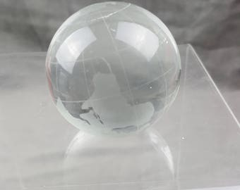 Clear Etched Glass Globe Earth Model
