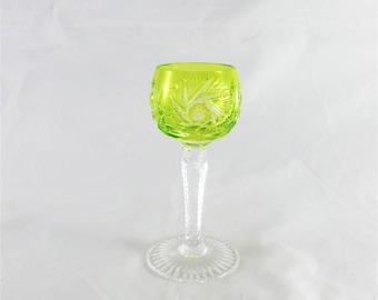 AJKA Cut to Clear Crystal Hock Liquor Goblet Glass Lime Green