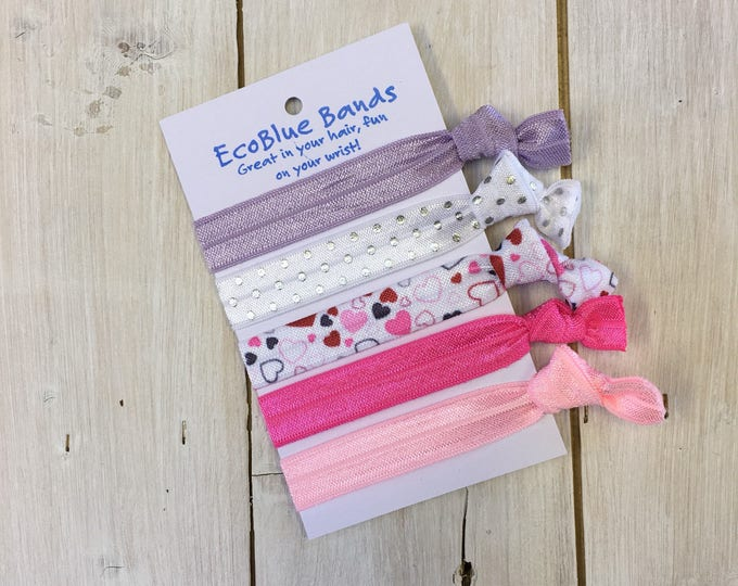 5 hair elastics, soft stretch hair ties, ponies, yoga hair ties, bracelets, ponytail holders - Pink Hearts Mix