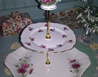 Vintage China Three Tier Royal Albert Cake Stand Teacup Plates Afternoon Tea Party Display Wedding Cakes Christening Mad Hatter Shabby Chic
