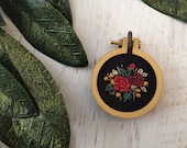 Christmas Bright Colorful Floral Mini Embroidery Hoop Necklace or Brooch - Detailed Embroidered Jewelry - Miniature Flowers - Red Rose