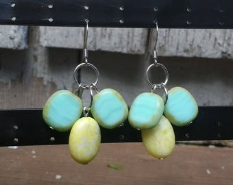 Yellow jasper/blue glazed stone dangle earrings