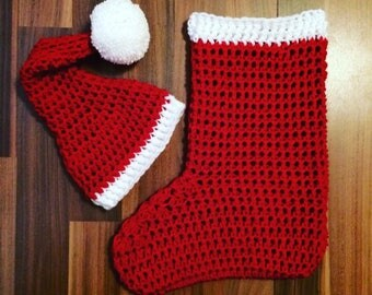Christmas Stocking Cocoon and Santa Hat Set