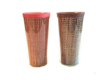 Vintage Pair Thermo-Temp Thermoware Raffiaware Pastel Tumblers Retro 1950's in Pink and Brown Tumblers