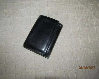 Nice Vintage Worn Black Leather Trifold Wallet Aged