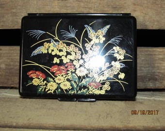 """Vintage Black Lucite Mirrored Jewelry Box Small Ring Box Jewelry Compact Made in Hong Kong 3 1/2"""" x 4 1/2"""""""